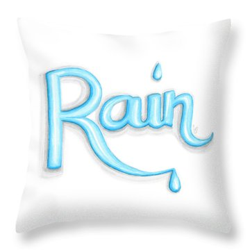 Throw Pillow featuring the drawing Rain by Cindy Garber Iverson