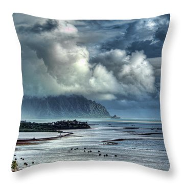 Rain Clearing Kaneohe Bay Throw Pillow