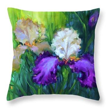Rain Dance Irises Throw Pillow