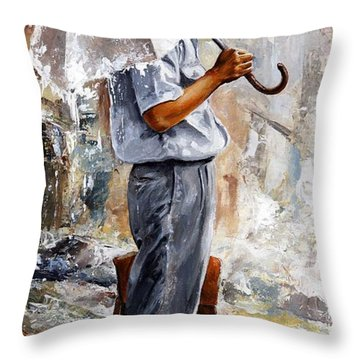 Rain Day - The Office Man Throw Pillow by Emerico Imre Toth