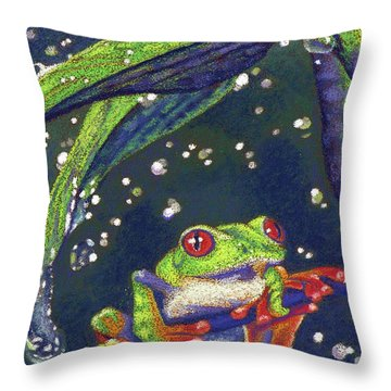 Rain Drops - Tree Frog Throw Pillow by Tracy L Teeter