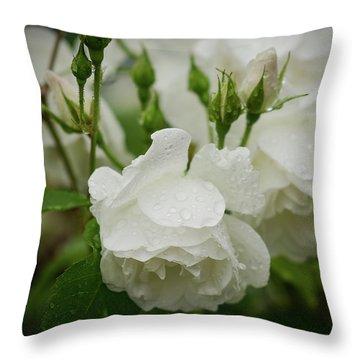 Rain Drops In Our Garden Throw Pillow