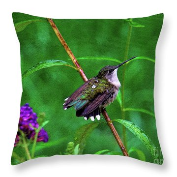 Throw Pillow featuring the photograph Rain Drops Keep Fallen On My Head by Sue Melvin