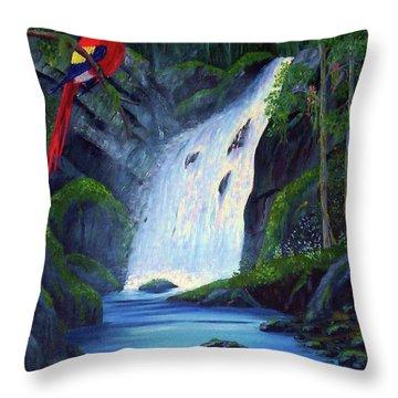 Rain Forest Macaws Throw Pillow