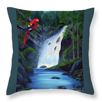 Rain Forest Macaws Throw Pillow