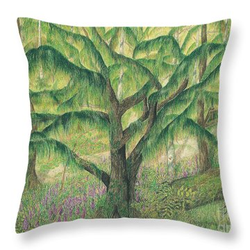 Rain Forest Washington State Throw Pillow