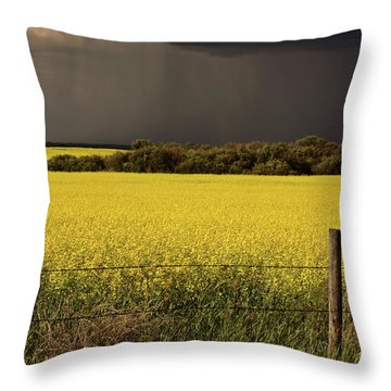 Rain Front Approaching Saskatchewan Canola Crop Throw Pillow by Mark Duffy