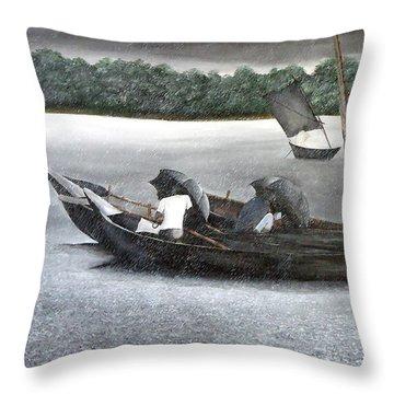 Rain In Bangladesh- An Acrylic Painting Throw Pillow by Fahad Hossain