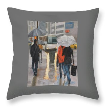Rain In Midtown Throw Pillow