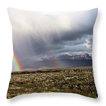 Throw Pillow featuring the painting Rain In The Desert by Dennis Ciscel