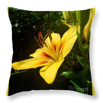Rain Kissed Tiger Lily Throw Pillow