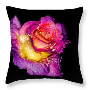 Rain-melted Rose Throw Pillow