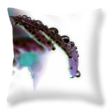 Rain On Rose Leaf Abstract Throw Pillow