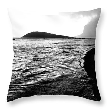 Throw Pillow featuring the photograph Rain On Sea And Shore by Julian Cook