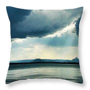 Rain On The Glass Mountains Throw Pillow