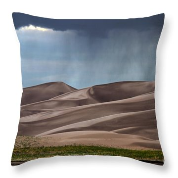 Rain On The Great Sand Dunes Throw Pillow