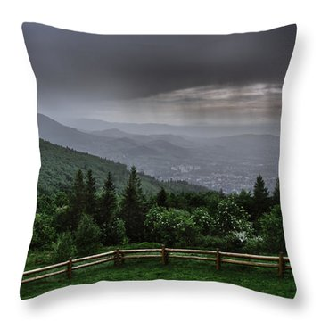 Throw Pillow featuring the photograph Rain Over The Silesian Beskids by Dmytro Korol