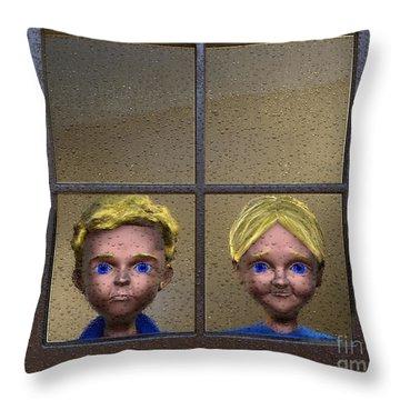 Throw Pillow featuring the painting Rain Rain Go Away by Dave Luebbert