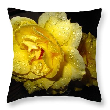 Throw Pillow featuring the photograph Rain Soaked Yellow Rose by Joyce Dickens