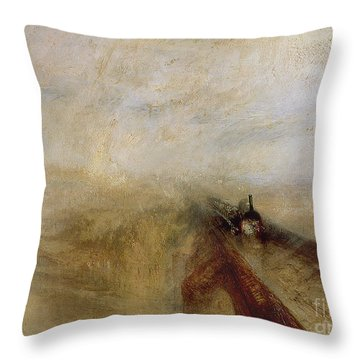 Rain Steam And Speed Throw Pillow by Joseph Mallord William Turner