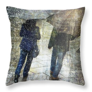 Rain Through The Fountain Throw Pillow