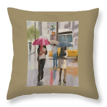 Rain Walk Throw Pillow