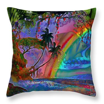 Rainboow Drenched In Layers Throw Pillow