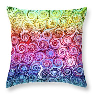 Rainbow Abstract Swirls Throw Pillow