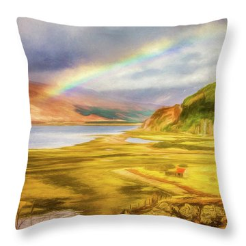 Throw Pillow featuring the photograph Painted Effect - Rainbow Across The Valley by Susan Leonard
