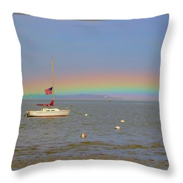 Rainbow Throw Pillow by Amazing Jules