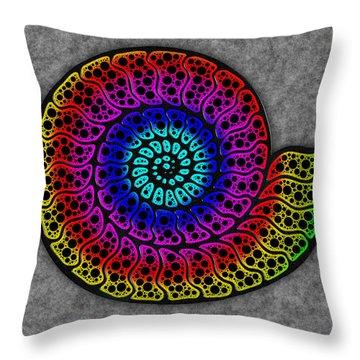Rainbow Ammonite Throw Pillow