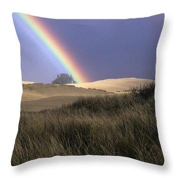 Rainbow And Dunes Throw Pillow