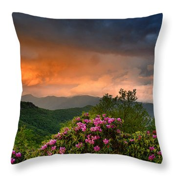 Rainbow And Rhododendrons On The Parkway Throw Pillow