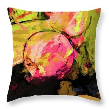 Rainbow Apples Graffiti Green Throw Pillow