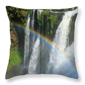Rainbow At Iguazu Falls Throw Pillow