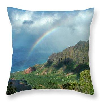 Rainbow At Kalalau Valley Throw Pillow by James Eddy