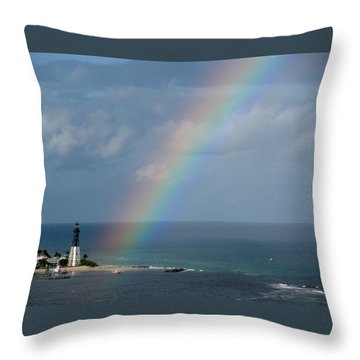 Rainbow At Lighthouse Throw Pillow
