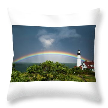 Rainbow At Portland Headlight Throw Pillow