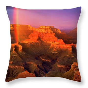 Rainbow At The Grand Canyon Throw Pillow