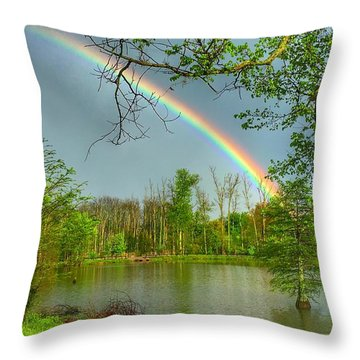 Rainbow At The Lake Throw Pillow