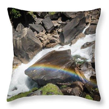Rainbow At Vernal Falls- Throw Pillow