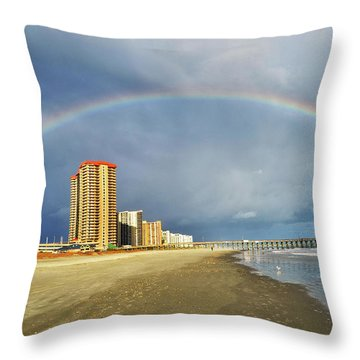 Rainbow Beach Throw Pillow by Kelly Reber
