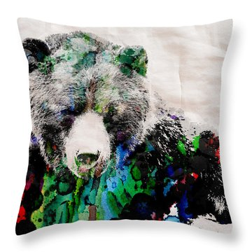 Rainbow Bear Watercolor Print Poster Throw Pillow