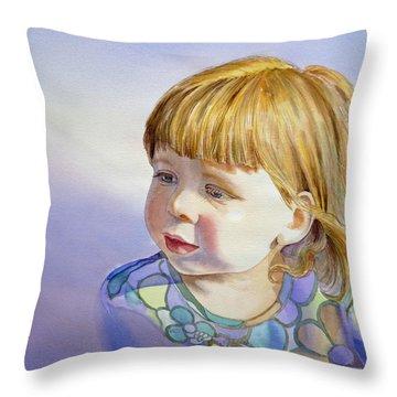 Rainbow Breeze Girl Portrait Throw Pillow by Irina Sztukowski