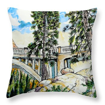 Throw Pillow featuring the painting Rainbow Bridge At Donner Summit by Terry Banderas