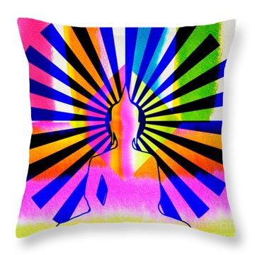 Rainbow Buddha Throw Pillow