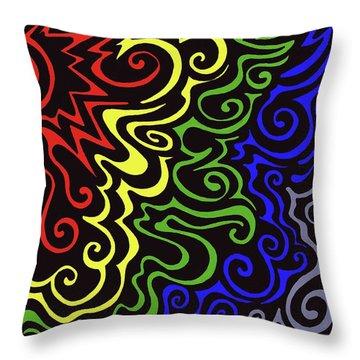 Rainbow Burst Tribal Throw Pillow