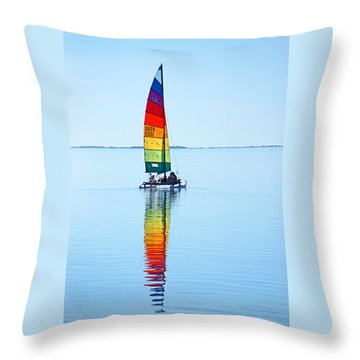 Rainbow Catamaran Throw Pillow