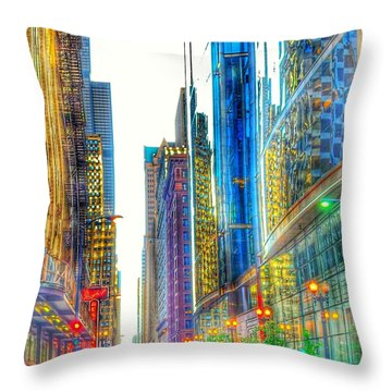 Throw Pillow featuring the photograph Rainbow Cityscape by Marianne Dow
