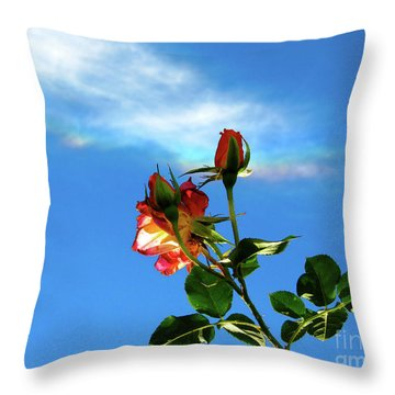 Rainbow Cloud And Sunlit Roses Throw Pillow